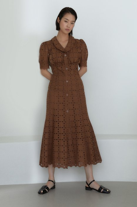 embroidery lace<br>mermaid one piece<br>brown