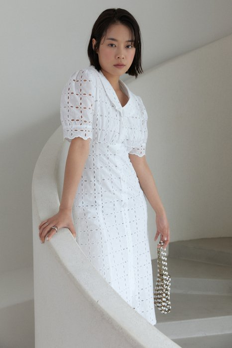 embroidery lace mermaid one piece<br>white