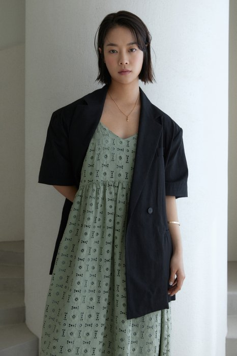 embroidery lace<br>maxi one piece<br>mint khaki