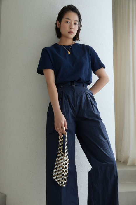 stitch belted pants<br>navy
