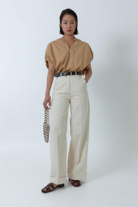 belted roll up pants<br>ivory,black