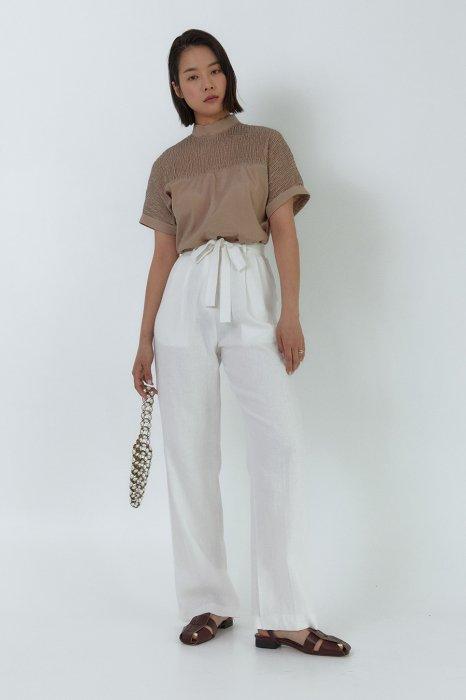 linen<br>straight ribbon pants<br>ivory, olive, navy