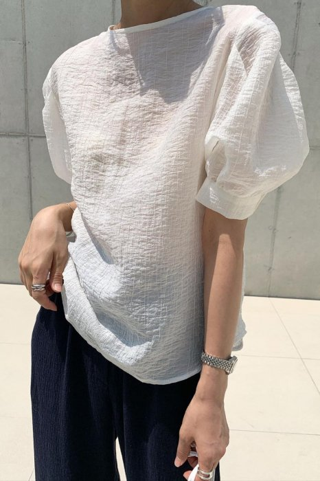 sherbet puff blouse<br>ivory