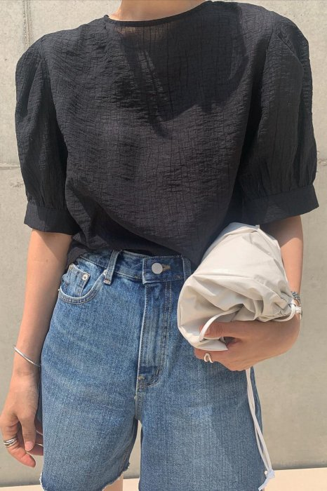 sherbet puff blouse<br>black