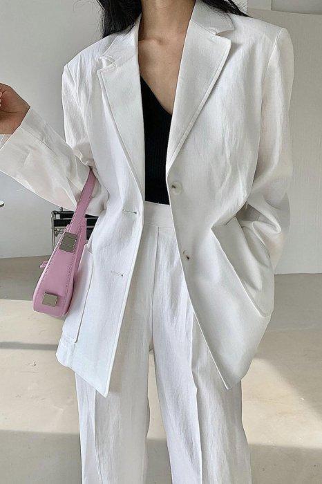 linen<br>raina herringbone jacket<br>white