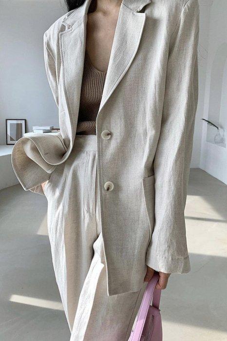 linen<br>raina herringbone jacket<br>beige