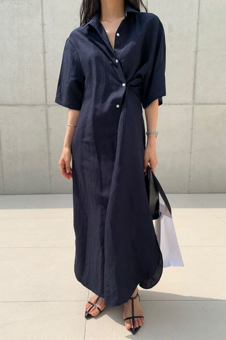 linen<br>3way shirts one piece<br>navy