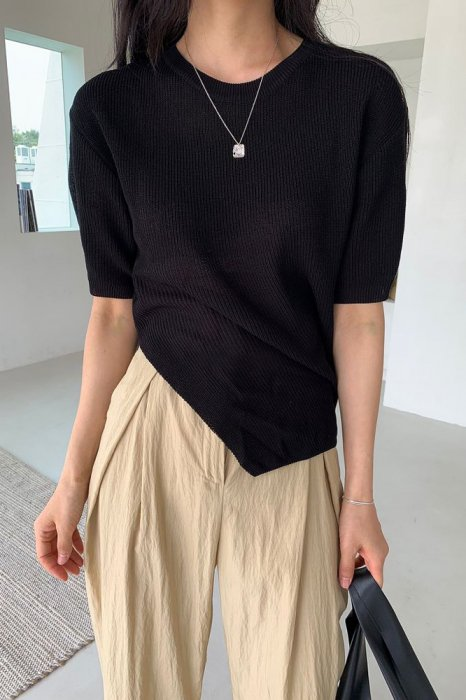 linen<br>rika cutting knit<br>black