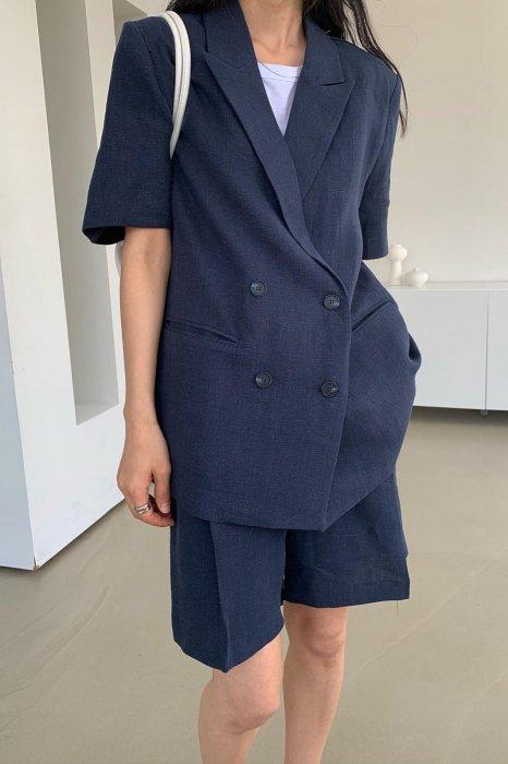 linen100%<br>mia half jacket<br>navy