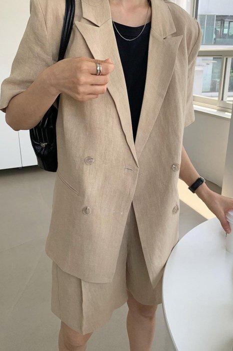 linen100%<br>mia half jacket<br>beige