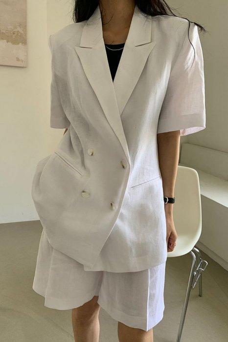 linen100%<br>mia half jacket<br>white