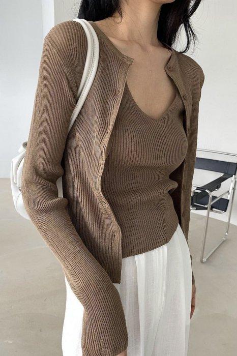 aube knit cardigan<br>brown, blue