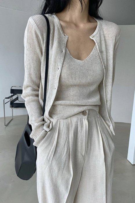 aube knit cardigan<br>oatmeal, black