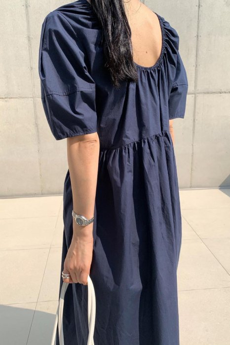 back shirring one piece<br>navy