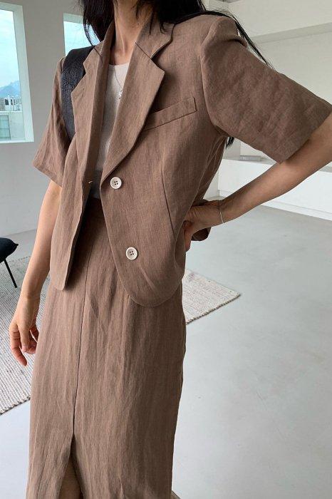 linen<br>hailey jacket<br>brown