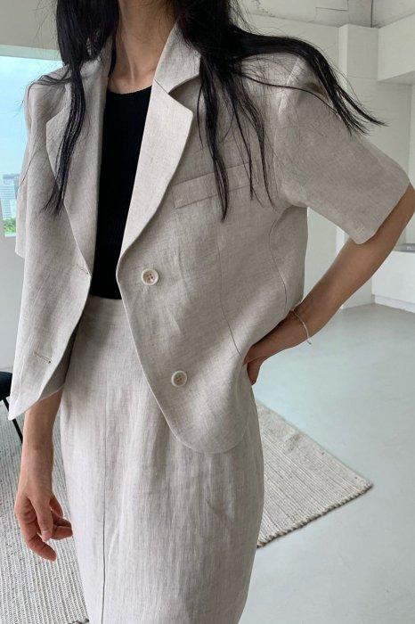 linen<br>hailey jacket<br>oatmeal beige