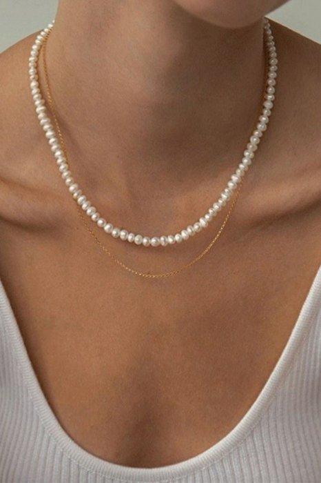 *淡水パール*<br>pearl double necklace