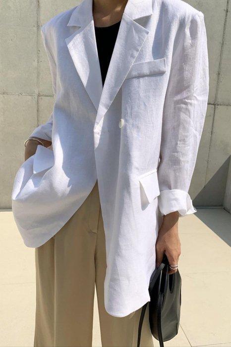 linen100%<br>back button loose jacket<br>white