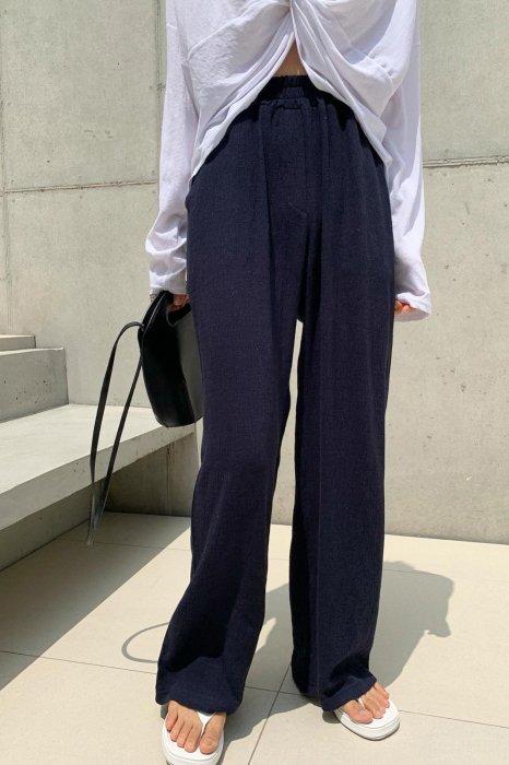 linen easy pants<br>navy