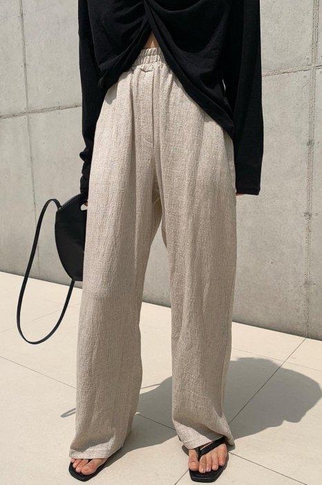linen easy pants<br>beige