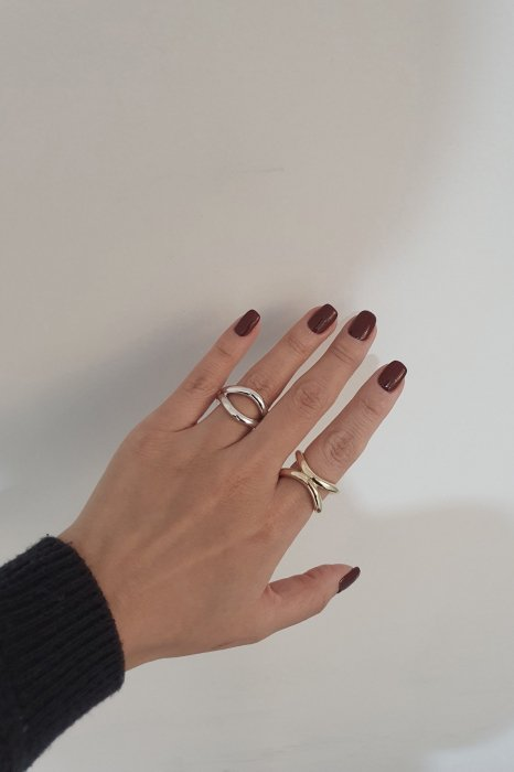 layer double ring<br>gold, silver