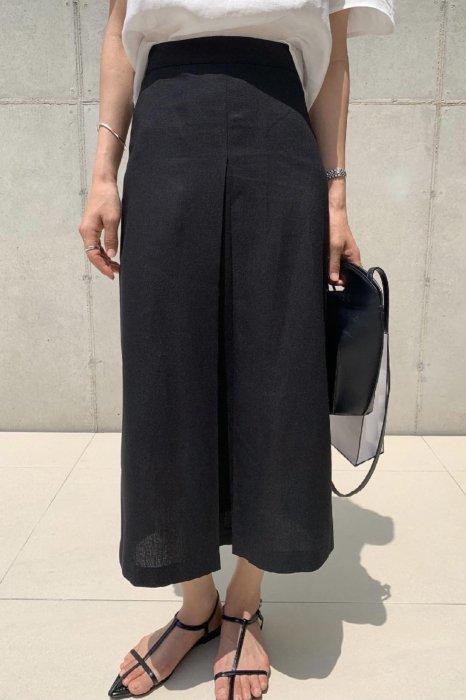 linen<br>front gather skirt<br>black