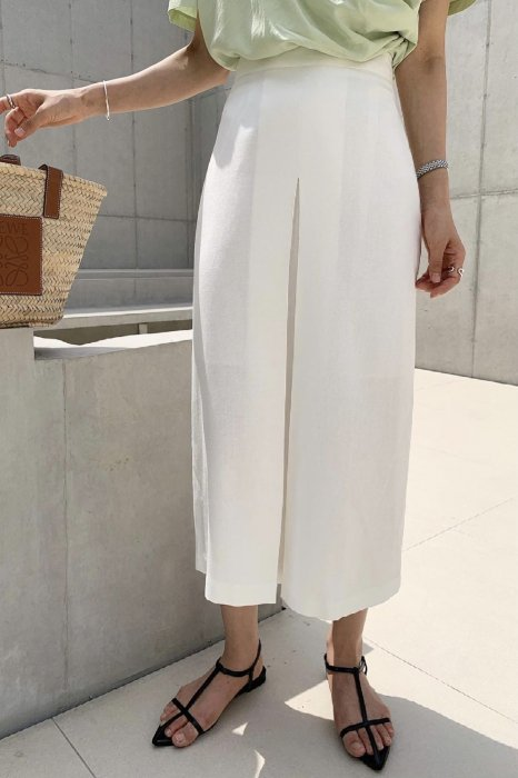 linen<br>front gather skirt<br>white