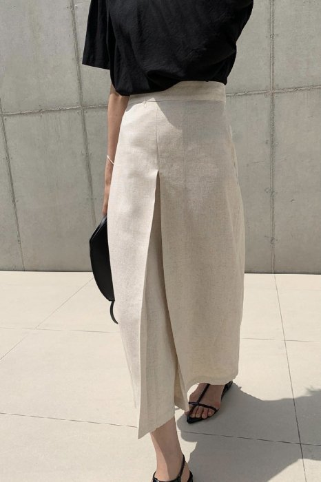 linen<br>front gather skirt<br>beige
