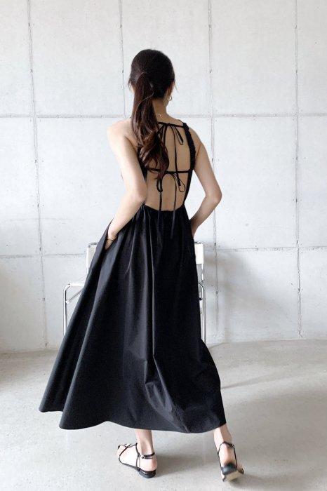 open back ribbon<br>one piece<br>beige, black