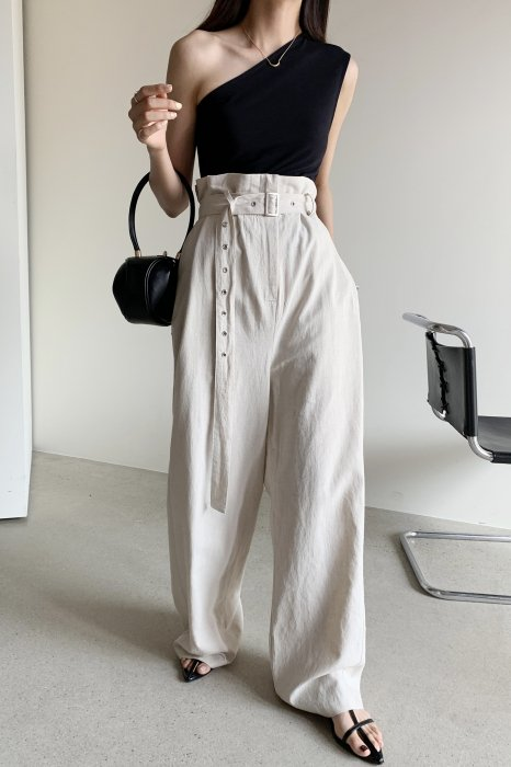 high wide belt pants<br>black,beige