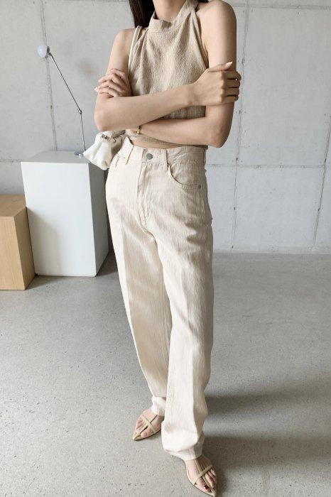 linen denim pants<br>beige