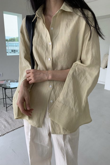 linen100%<br>slit sleeves shirts<br>soft yellow