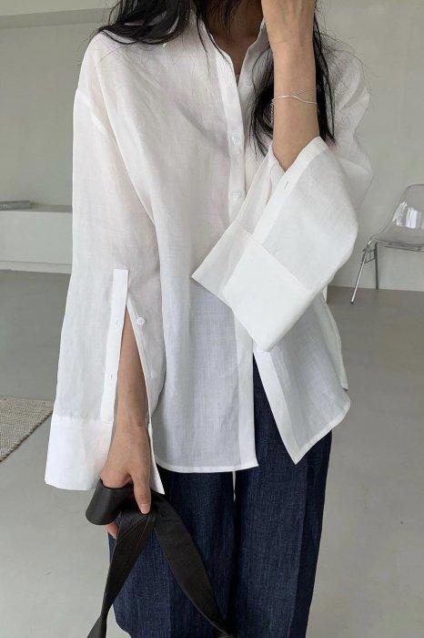 linen100%<br>slit sleeves shirts<br>white