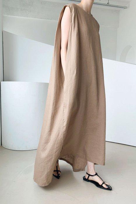 linen 100%<br>draped maxi one piece<br>beige