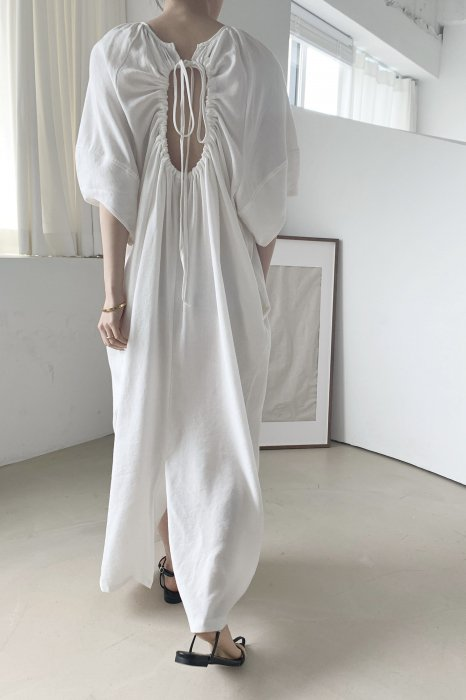 linen<br>back open<br>maxi one piece<br>off white