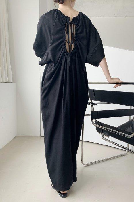 linen<br>back open<br>maxi one piece<br>black