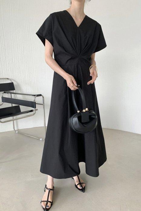 waist drape one piece<br>black