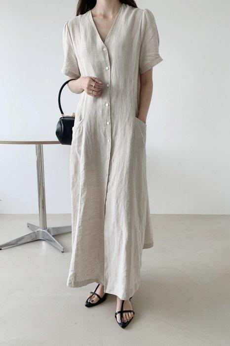 linen100%<br>robe maxi one piece<br>beige