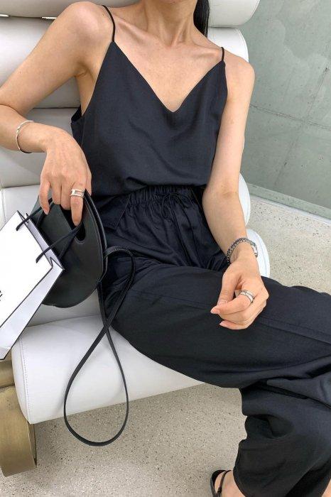 summer satin camisole<br>black