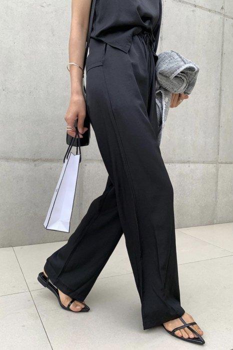 summer satin<br>string pants<br>black