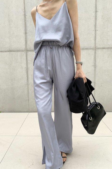 summer satin<br>string pants<br>gray
