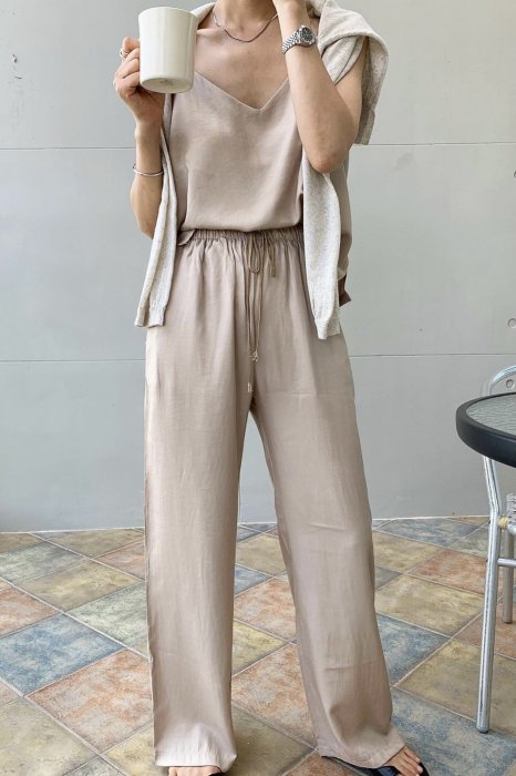 summer satin<br>string pants<br>beige