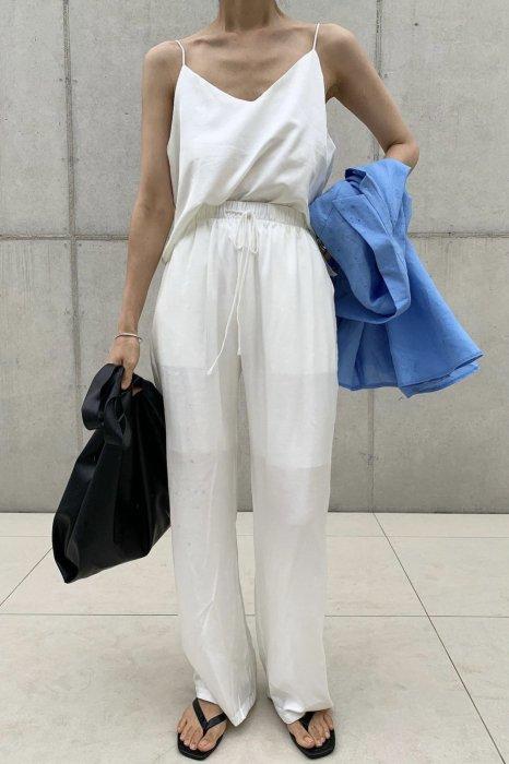 summer satin<br>string pants<br>ivory