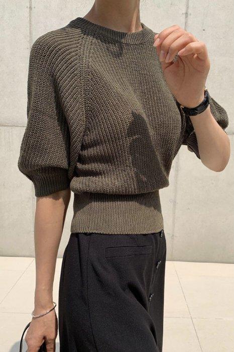 puff round summer knit<br>khaki