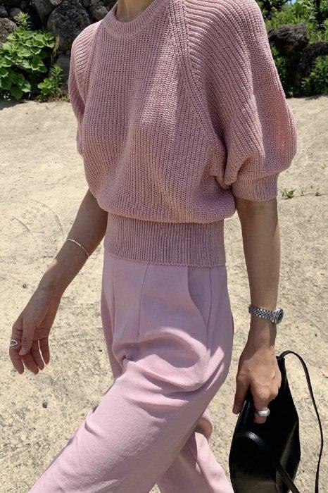puff round summer knit<br>pink