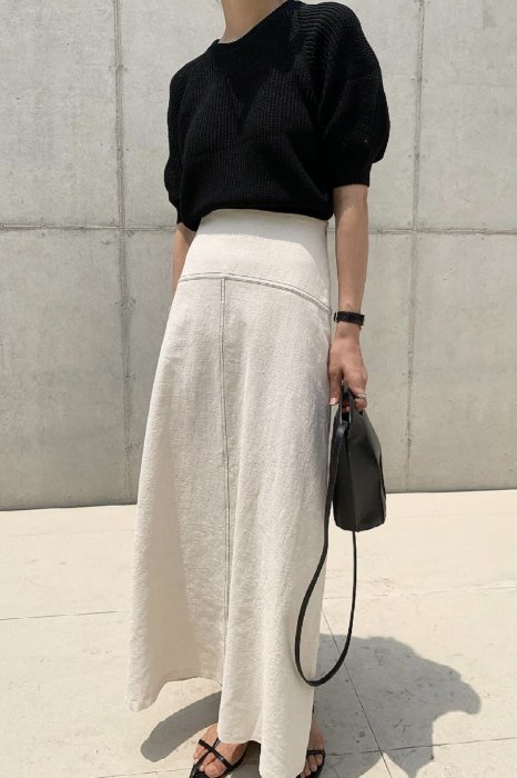 puff round summer knit<br>black