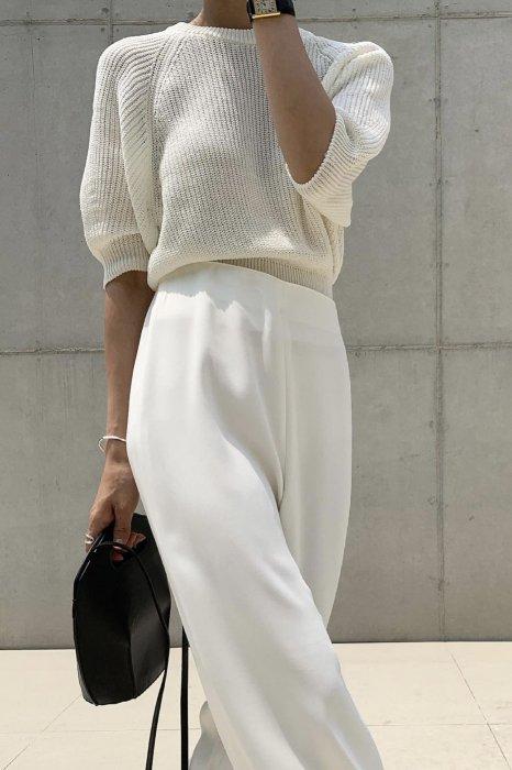 puff round summer knit<br>ivory