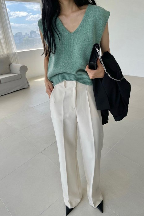v neck wool vest<br>soft green
