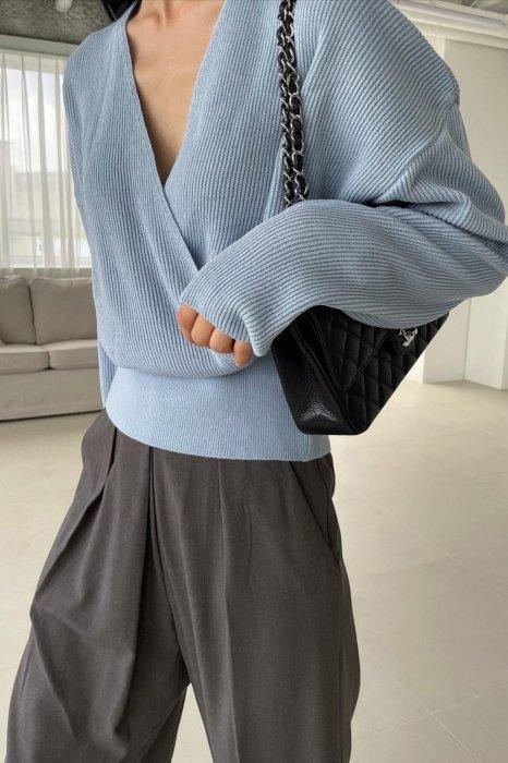 ella wrap knit<br>blue