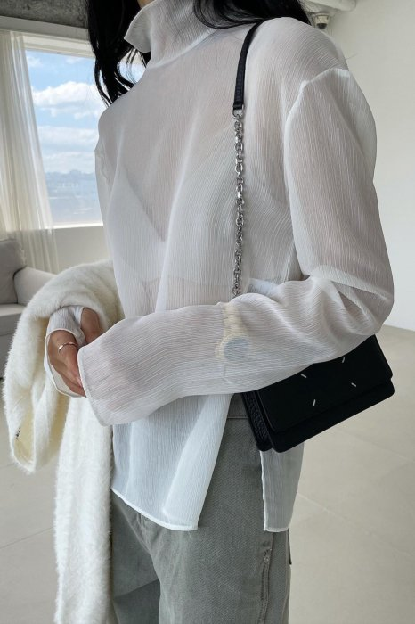 high neck<br>see thorough blouse<br>white